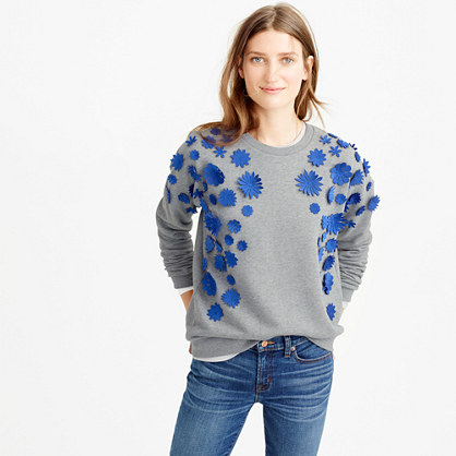 Embellished flower sweatshirt