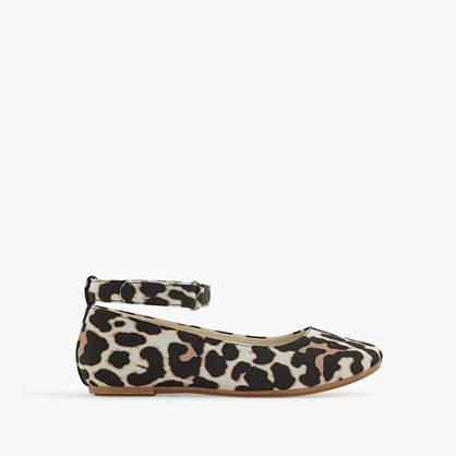 Girls' leopard ankle-strap ballet flats