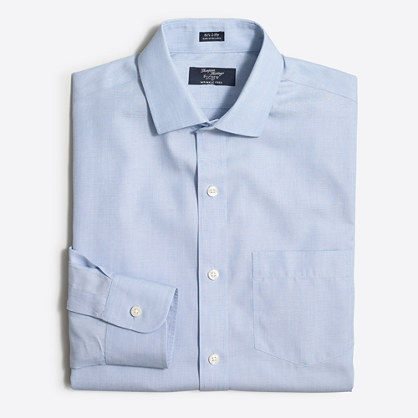 Factory wrinkle-free Voyager dress shirt in end-on-end cotton