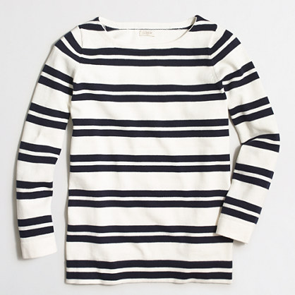 Factory placed-stripe boatneck sweater