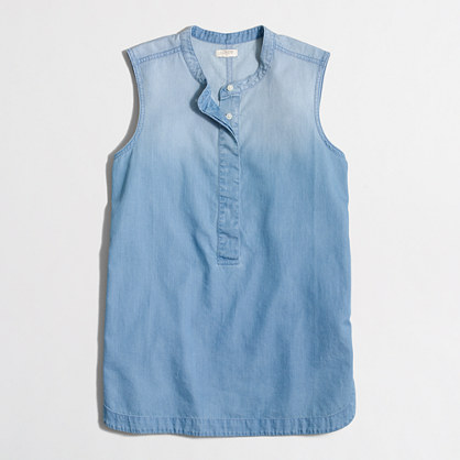 Factory drapey chambray popover shirt