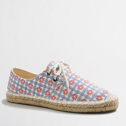 Factory lace-up espadrilles in geometric print