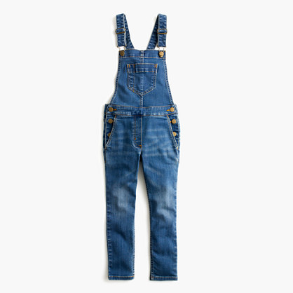 Girls' stretch denim overalls