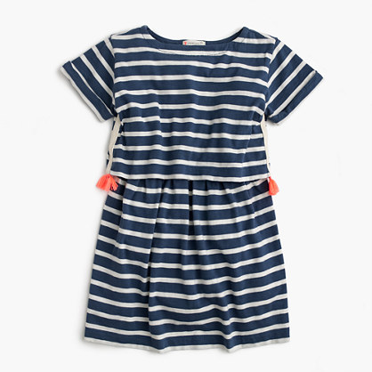 Girls' tiered striped dress