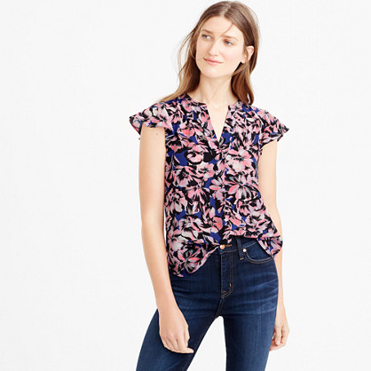 Petite flutter-sleeve silk top in hibiscus print