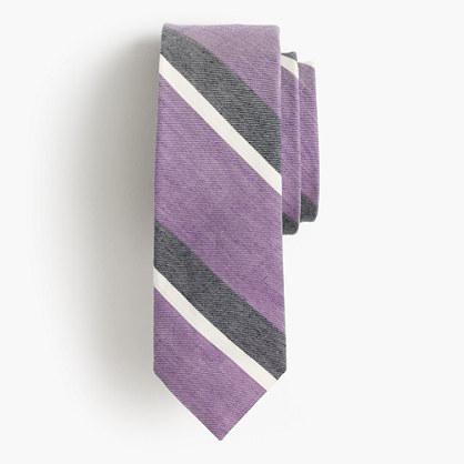 English linen-cotton tie in violet stripe
