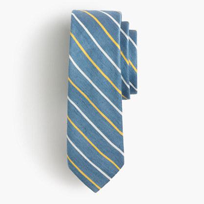 English linen-silk tie in royal blue stripe