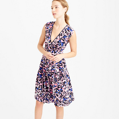 Silk pleated dress in hibiscus print