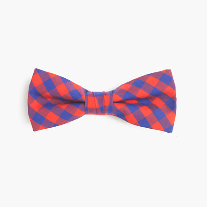 Boys' cotton bow tie in purple gingham