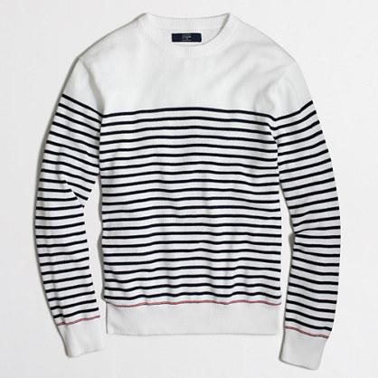Sailor-striped cotton crewneck sweater