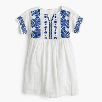 Girls' embroidered dress in lightweight cotton