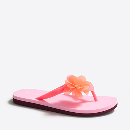Girls' colorblock flower flip-flops