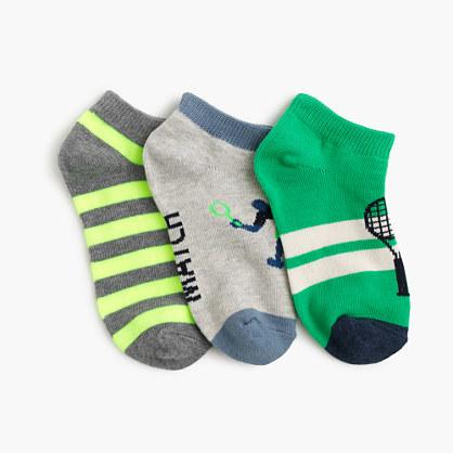 Boys' tennis striped socks three-pack