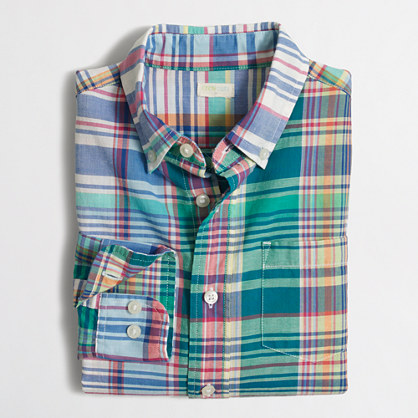 Boys' summer plaid washed shirt