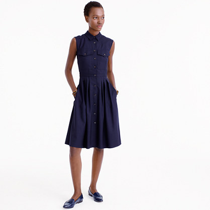 Tall sleeveless shirtdress in Super 120s