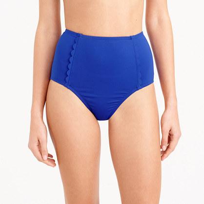 Scalloped high-waist bikini brief in Italian matte