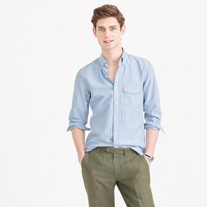 Slim lightweight oxford shirt in blue stripe