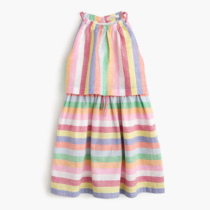 Girls' tiered dress in candy stripe