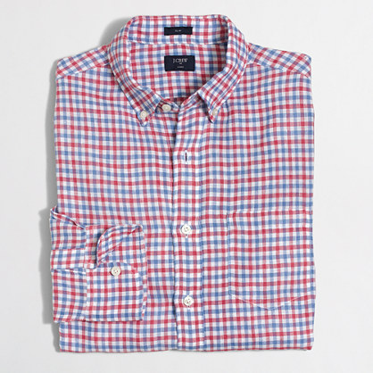 Factory slim linen shirt in multicolor gingham