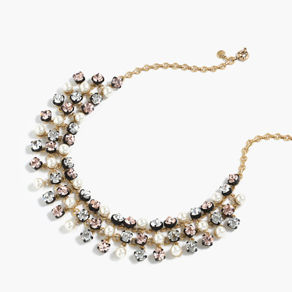 Crystal and pearl studded swing necklace