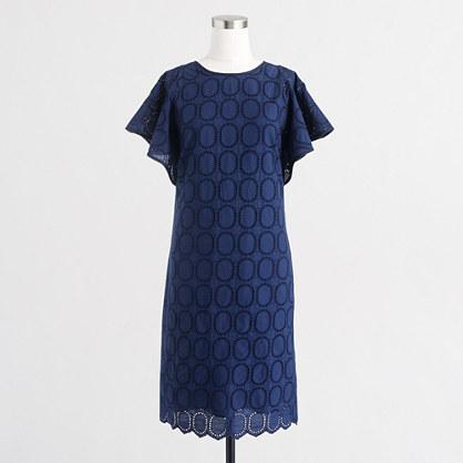 Factory flutter-sleeve scalloped eyelet dress