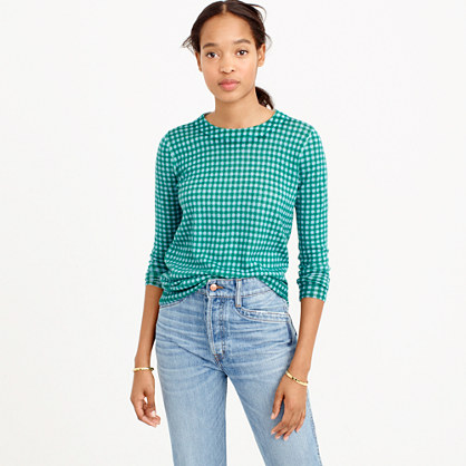 Petite Tippi sweater in blue-emerald gingham