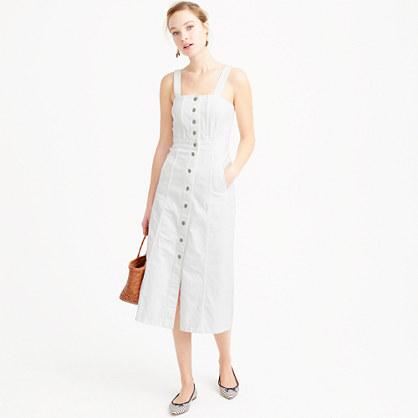 Button-front dress in white denim