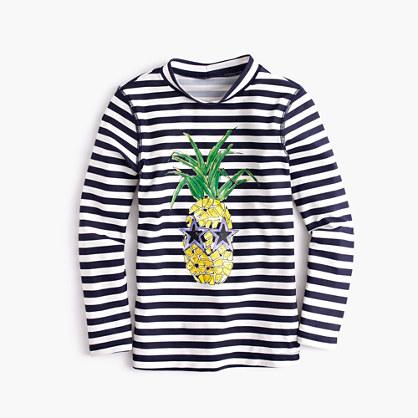 Girls' rash guard in cool pineapple