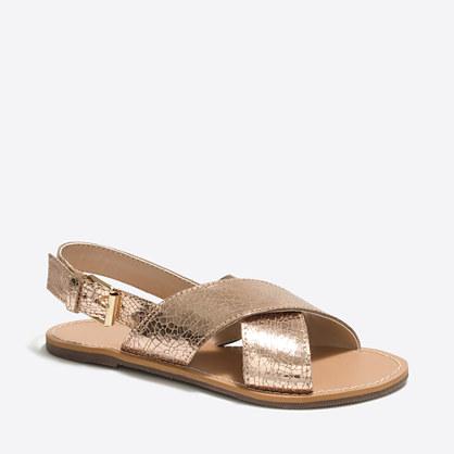 Girls' metallic sandals