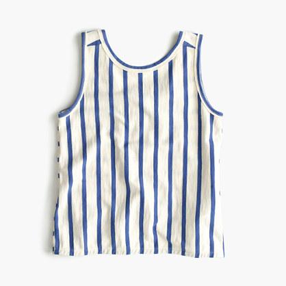 Girls' cross-back striped tank top