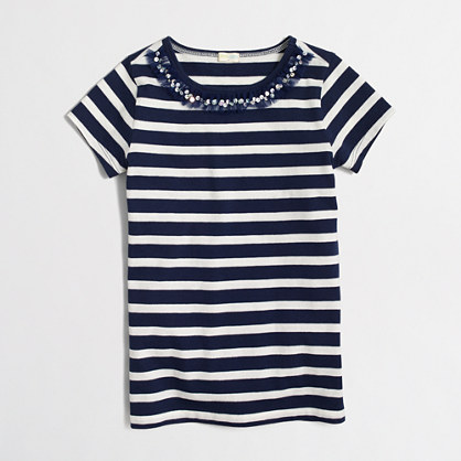 Factory girls' striped necklace T-shirt
