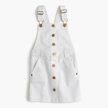 Girls' denim overall dress in white