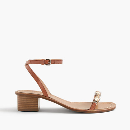 Jeweled block-heel sandals