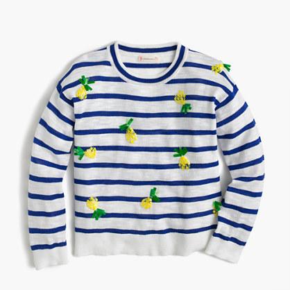 Girls' sequin pineapple popover sweater