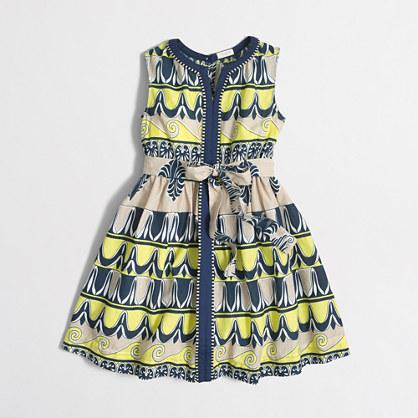 Factory girls' printed center-seam dress
