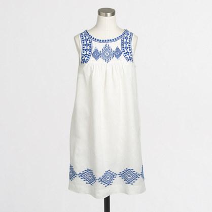 Linen-cotton embroidered dress