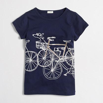 Girls' girl & dog bike keepsake T-shirt