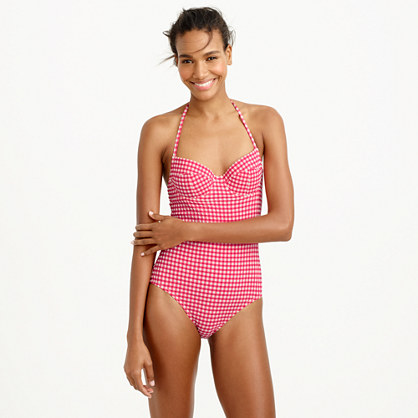 DD-cup underwire halter one-piece swimsuit in gingham seersucker