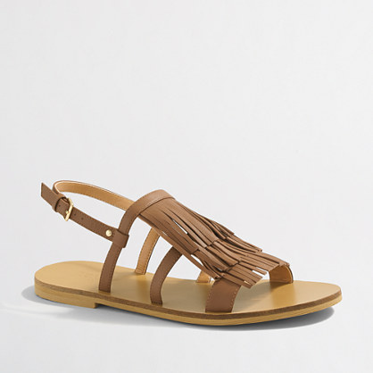 Factory leather fringe slingback sandals