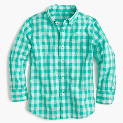 Kids' Secret Wash shirt in green gingham