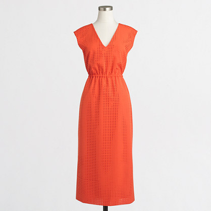 Perforated drapey crepe dress
