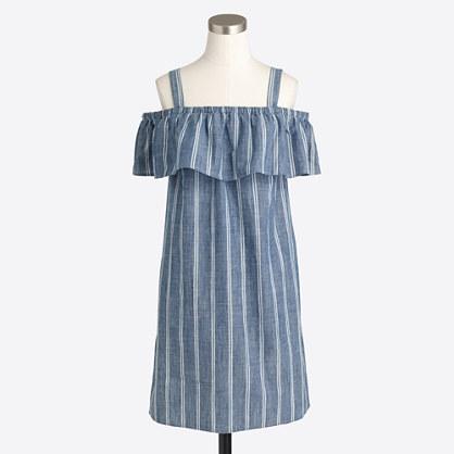 Striped chambray ruffle-neck dress