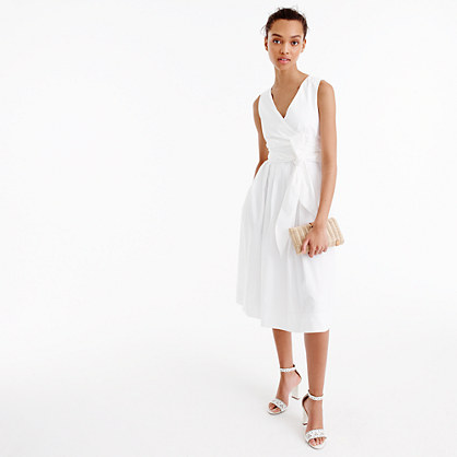 Petite wrap dress in cotton poplin
