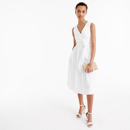Petite wrap dress in cotton poplin