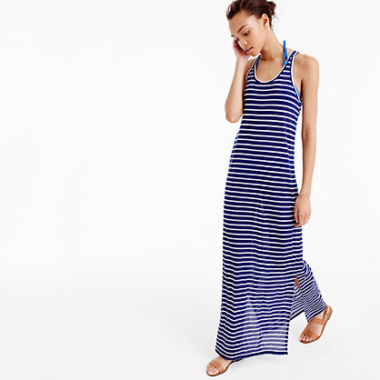 Sunwashed cotton maxi dress in stripe