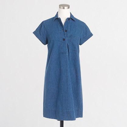 Factory striped short-sleeve shirtdress