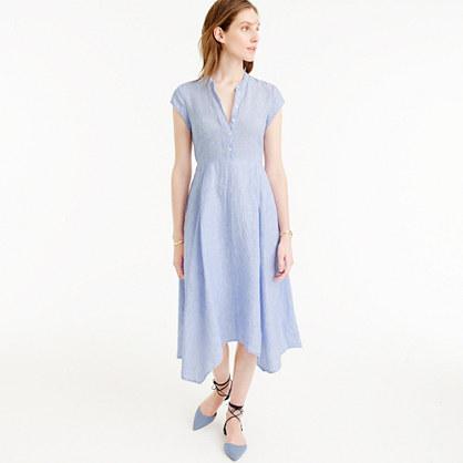 Short-sleeve shirtdress in linen
