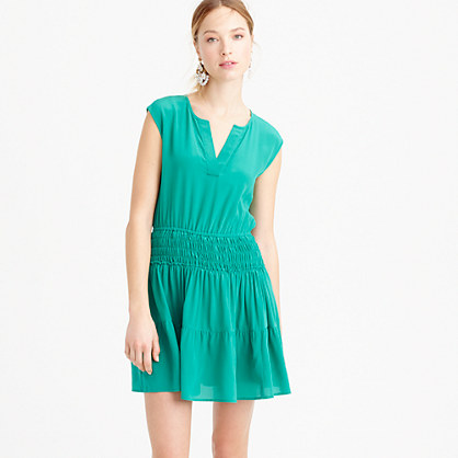 Silk smocked-waist dress