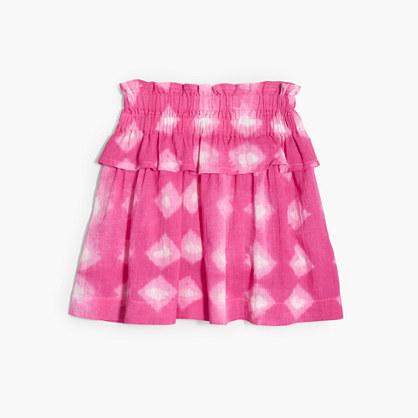 Girls' tie-dye pull-on ruffle skirt