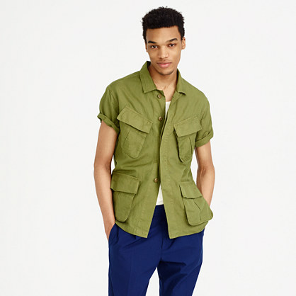 Wallace & Barnes cotton-linen short-sleeve military shirt